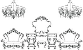 Exquisite Fabulous Imperial Baroque furniture and dressing table engraved. Vector French Luxury rich intricate. Exquisite Fabulous Imperial Baroque furniture and stock illustration