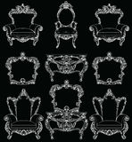 Exquisite Fabulous Imperial Baroque furniture set engraved. Vector French Luxury rich intricate ornamented structure. Victorian Royal Style decoration royalty free illustration