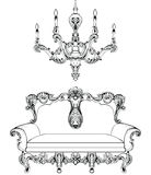 Exquisite Fabulous Imperial Baroque sofa and chandelier engraved. Vector French Luxury rich intricate ornamented Stock Image