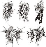 Exquisite fantasy girls stock illustration