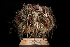 Exquisite flower arrangement with red tulips. Exquisite flower arrangement made by an artist. flowers on a table made from metal/steel. hedera helix, miscanthus Royalty Free Stock Images