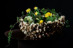 Exquisite flower arrangement with mushrooms and daffodils. Exquisite flower arrangement made by an international artist. flowers on a table made from metal/steel Royalty Free Stock Image