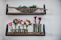 Exquisite flower shop wall display stock images