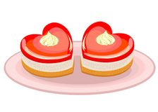 Exquisite food. A cake in the shape of a heart. Suitable for Valentine s Day, Valentine s Day. Vector illustration stock illustration