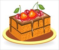 Exquisite food. A piece of delicious chocolate cake. The sweetness is decorated with berries of strawberries and sweet cherries. stock illustration