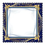 Exquisite frame. Exquisite golden frame on dark blue background with jagged border Royalty Free Stock Photo