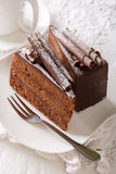 Exquisite French truffle cake with chocolate chips close up. ver Stock Image
