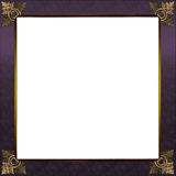 Exquisite gold and royal purple picture or border frame. Exquisite picture frame or border with gold patterned corners and royal purple border Stock Image