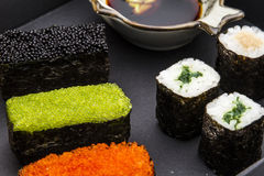 Exquisite Japanese style sushi map 01. Gourmet series of exquisite Japanese style sushi chart royalty free stock photo