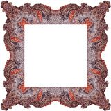 Ornamentally colored symmetrical, square shaped frame design Royalty Free Stock Images