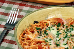 Exquisite  pasta with  fresh tomatoes sauce Stock Photo