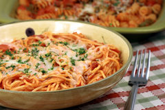Exquisite  pasta with  fresh tomatoes sauce Stock Images
