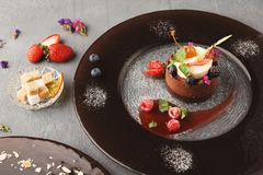 Exclusive mousse dessert served at restaurant Royalty Free Stock Photography