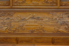 Exquisite sculpture on wooden furniture in Chinese traditional style Royalty Free Stock Image