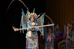 """Exquisite spearplay- Beijing Opera"""" Women Generals of Yang Family"""". This opera tells a patriotic story how does an old woman of a hundred years old Royalty Free Stock Image"""