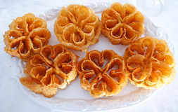 Exquisite sweet flowers made with flour, egg and honey. 1 Royalty Free Stock Photography