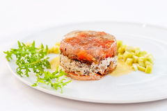 Exquisite Terrine made of Green Lentils and Smoke-Cured Salmon Royalty Free Stock Photography