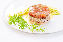 Exquisite Terrine made of Green Lentils and Smoke-Cured Salmon Royalty Free Stock Photos