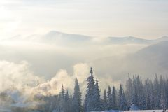 Magic winter mountains in Dragobrat. Exquisite winter mountains at sunrise in Ukraine Dragobrat Royalty Free Stock Photography