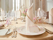 Exquisitely decorated wedding table Royalty Free Stock Photo