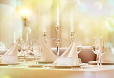 Exquisitely decorated wedding table Stock Photo