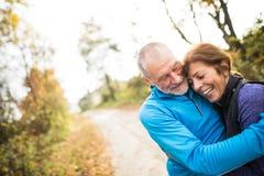 Extérieur courant de beaux couples supérieurs dans la forêt ensoleillée d'automne Photo stock