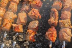Extérieur cuit de viande de porc sur les carbones de combustion lente Photo stock