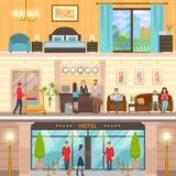 Extérieur d'hôtel, réception et ensemble luxueux de pièce illustration libre de droits