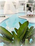 Extérieur d'hôtel : piscine et partie du bâtiment Photos stock