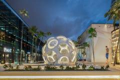 Extérieur de crépuscule de dôme géodésique de Buckminster Fuller dans le Midtown Images libres de droits