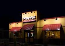 Extérieur de cuisine de Popeyes Louisiane Images libres de droits