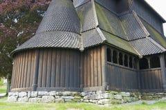 Extérieur de l'église de barre de Hopperstad dans Vik, Norvège Photographie stock