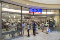 Extérieur de magasin d'Aldi Photo libre de droits