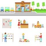 Extérieur de magasin de chaussures et ensemble de achat de personnes d'illustrations illustration de vecteur