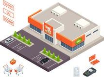 Extérieur de supermarché, chariot de crédit, terminal de position, boîte, supérette, banktomat, femme tenant le caddie Vecteur