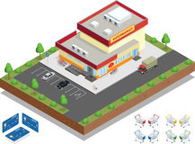 Extérieur de supermarché Le supermarché avec des caddies de stationnement et Image libre de droits