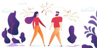 Extérieur de support d'homme et de femme avec des feux d'artifice en ciel illustration libre de droits