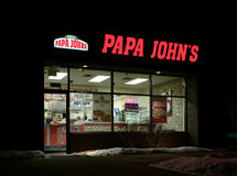Extérieur du restaurant de Papa John Photos stock
