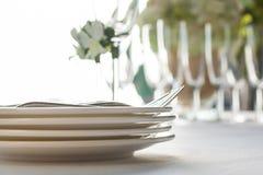 Extérieur installé par table de mariage Photo libre de droits