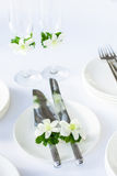 Extérieur installé par table de mariage Photographie stock
