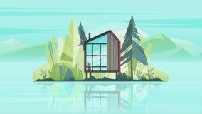 Extérieur moderne de Chambre de cottage, villa construisant la bannière horizontale avec des arbres, lac et les montagnes Illustr Images libres de droits
