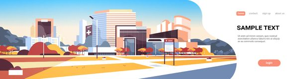 Extérieur moderne de clinique médicale de grand bâtiment d'hôpital avec le fond de paysage urbain d'arbres de conseil de l'inform illustration libre de droits
