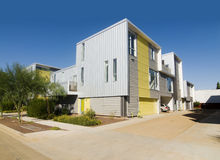 Extérieur neuf d'acier de maison moderne Photo libre de droits