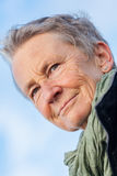 Extérieur supérieur de femme agée aux cheveux gris heureuse photo stock