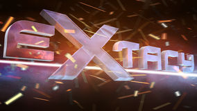 Extacy Logo. With abstract background. Light and particle effects Stock Image