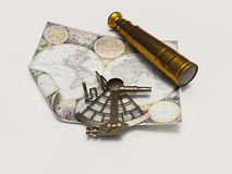 Extant and telescope of map Royalty Free Stock Images