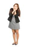 Extatisk asiatisk affärskvinna Cupping Chin Full Arkivbild