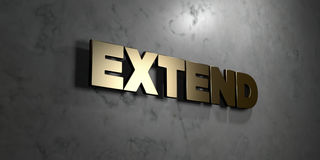 Extend - Gold sign mounted on glossy marble wall  - 3D rendered royalty free stock illustration. This image can be used for an online website banner ad or a Stock Photos