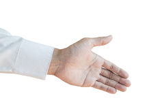 Extend hand with white lone sleeve, isolated on white background Stock Photography