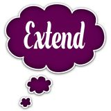 EXTEND on magenta thought cloud. Illustration graphic concept Royalty Free Stock Images